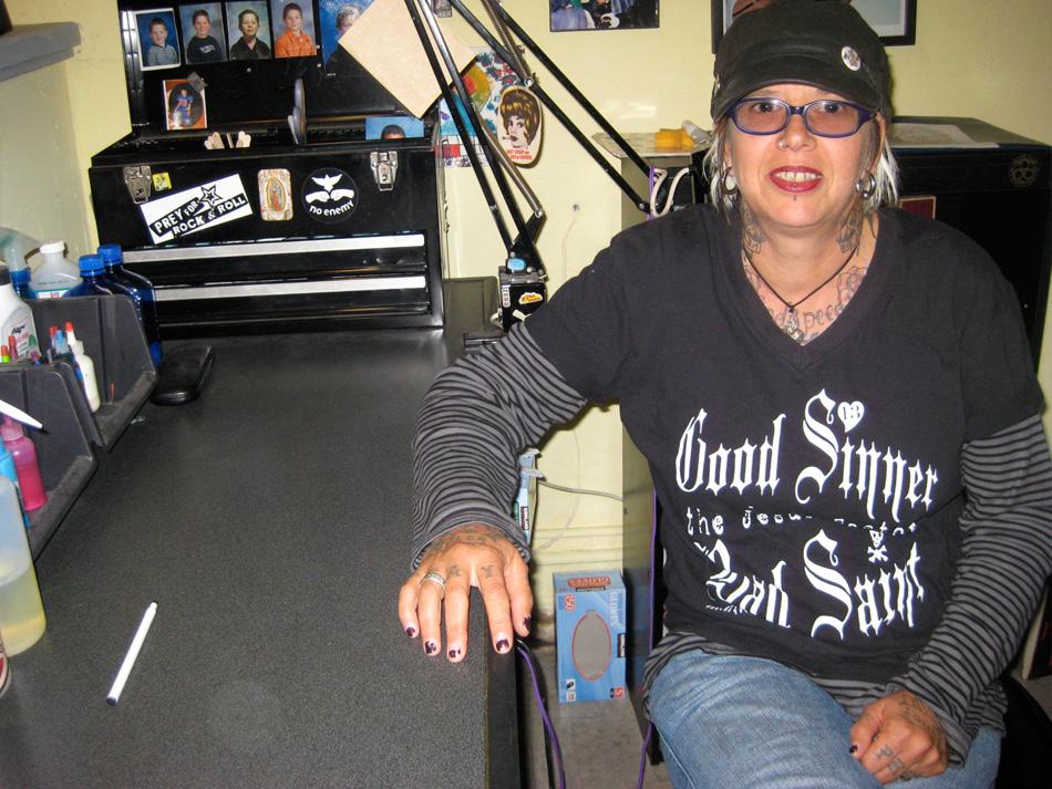 Cheri at her workstation