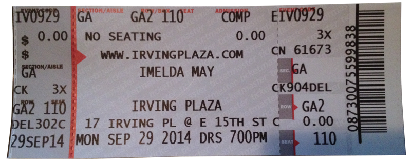 Imelda May ticket Irving Plaza Sept 2014